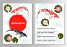Folheto do molde do estilo de Koi Asian da carpa ilustração stock