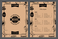 folheto do restaurante Ilustração do vetor com projeto do menu Imagens de Stock