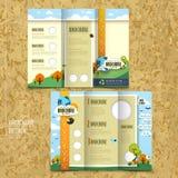 Folheto dobrável em três partes do molde para o conceito ambiental Imagens de Stock Royalty Free