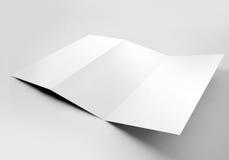 Folheto dobrável em três partes vazio Fotografia de Stock