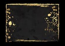 Folheto luxuoso elegante escuro, cartão, tampa do fundo Textura abstrata preta e dourada do fundo da aquarela Chapinhar o motivo  Foto de Stock Royalty Free