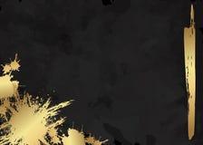 Folheto luxuoso elegante escuro, cartão, tampa do fundo Textura abstrata preta e dourada do fundo da aquarela Chapinhar o motivo  Fotografia de Stock Royalty Free