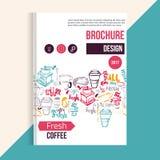 Folheto moderno do café, menu Fundo colorido para envolver, bandeiras do vetor Imagens de Stock