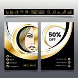 Folheto-molde do negócio para salões de beleza e hairdressing_2 Imagens de Stock Royalty Free
