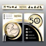 Folheto-molde do negócio para salões de beleza e hairdressing_5 Fotografia de Stock