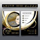 Folheto-molde do negócio para salões de beleza e hairdressing_1 Foto de Stock
