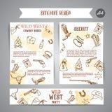 Folheto ocidental selvagem Cartaz americano da mostra do rodeio do vaqueiro com vetor da tipografia ilustração do vetor