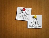Folhetos brancos com ícones dos desenhos animados Fotos de Stock Royalty Free