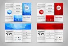 Folhetos de dobramento do projeto com elementos poligonais Fotos de Stock Royalty Free