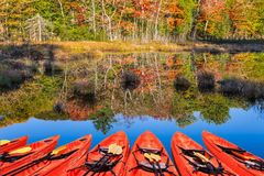 Picturesque red canoes stock photography