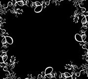 Foliage border. A white summer foliage border over a black background Royalty Free Stock Photography