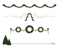 Foliage dividers. A variety of Christmas foliage divider lines Stock Photo