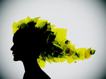 Foliage girl head silhouette Stock Photography
