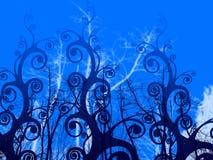 Foliage illustration. Shining blue plant foliage illustration Stock Photos