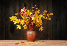 Foliage in a metal vase Stock Image
