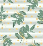 Foliage natural branches with green leaves seamless pattern. Vector decorative beautiful elegant illustration light blue. Foliage natural branches with green Stock Image