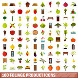 100 foliage product icons set, flat style. 100 foliage product icons set in flat style for any design vector illustration stock illustration