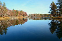 Foliage Reflections On Clamshell Lake, Minnesota. Autumn foliage reflections are displayed on scenic Clamshell Lake, in north central Minnesota stock photography