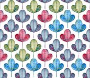 Foliage seamless pattern. Watercolor grey, blue, green and red leaves. royalty free stock photo