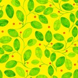 Foliage Seamless Pattern. Yellow Watercolor. Foliage Seamless Pattern. Yellow Watercolor Abstract Background. Hand Painted classic Art Print. Foliage Repeating Royalty Free Stock Photography