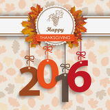 2016 Foliage Thanksgiving Emblem. Number 2016 with thanksgiving emblem and autumn foliage Vector Illustration