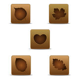Foliage Tree Iconset. Icon set of foliage trees wiht brown colors Royalty Free Stock Photo