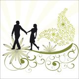 Foliage vine and romantic couple. Funky foliage  with flowers and vine with romantic couple and burst behind - couple in playful stance walking holding hands Stock Image