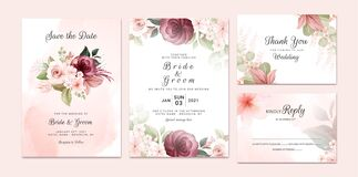 Foliage wedding invitation template set with burgundy and brown watercolor floral bouquet and border decoration. Botanic card
