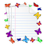 Folias of paper and butterfly. Vector illustration Royalty Free Stock Photography