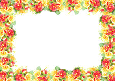 Foliate border with roses blossom Illustation Stock Photography