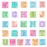 Foliate and floral alphabet letters set. Colourful vector illustration of a complete set of alphabet letters in uppercase with square format foliate and floral Royalty Free Stock Photo