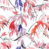 Foliate watercolor pattern Stock Photo