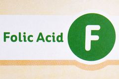 Folic Acid Sign on Food Packaging Royalty Free Stock Image