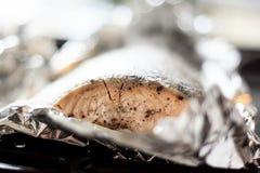 Folie-gemachte köstliche Fische - Lachse Stockfoto