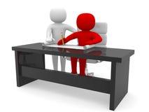 folk 3d - manar och ett kontor med arbetet formulerar. stock illustrationer