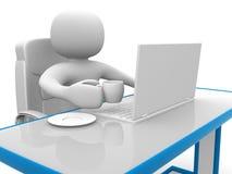 folk 3d. Person till ett kontor och en bärbar dator stock illustrationer