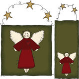 Folk Art Angel Banner and Tag Royalty Free Stock Images