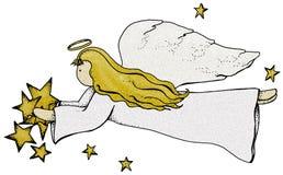 Folk Art Angel with Stars Stock Photo