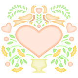 Folk art background. A pastel folk art square background suitable for a decorative marriage or birth announcement...just add decorative type in the heart Royalty Free Stock Image