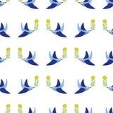 Folk art bird with floral element ornament Scandinavian style vector. Folk art birds with floral element ornament Scandinavian style royalty free illustration