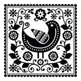 Folk art black pattern with bird and flowers Stock Photo