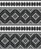 Folk art black seamless pattern from Ukraine and Belarus Stock Photos