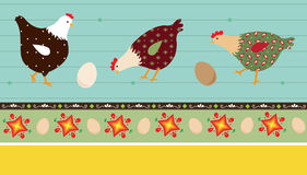 Folk Art Chickens. A vector illustration of stylized chickens and decorative elements, eps 10 stock illustration