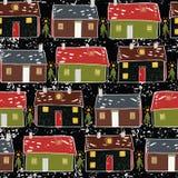 Folk Art Christmas Village Vector Pattern vektor illustrationer