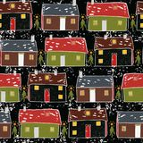 Folk Art Christmas Village Vector Pattern vector illustration