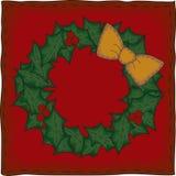 Folk Art Christmas Wreath Stock Photo