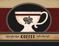 Folk Art Coffee Poster Royalty Free Stock Images