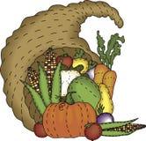 Folk Art Cornucopia. A bountiful harvest in a folk art styled cornucopia Stock Image