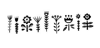 Folk Art Elements. Collection of different folk art elements made in vector. Unique isolated drawings with nordic motives stock illustration