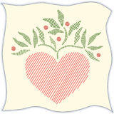 Folk Art Embroidered Heart on Linen Stock Image